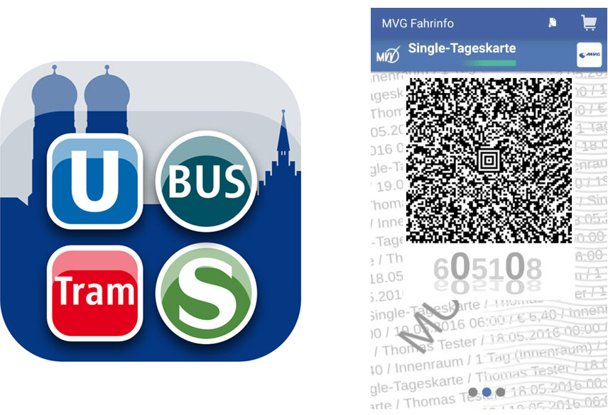 Collage aus MVG App und Screenshot, Foto: MVG